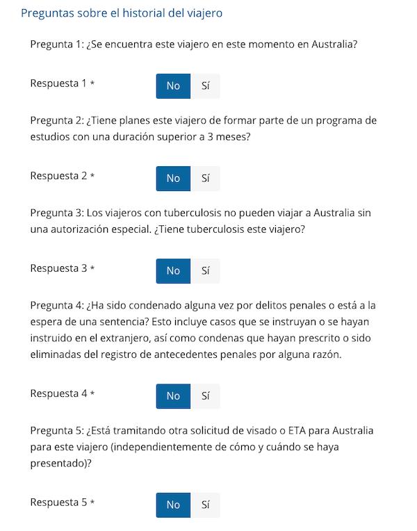Formulario de solicitud: paso 5