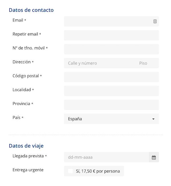 Datos de contacto en el formulario eTA Canadá