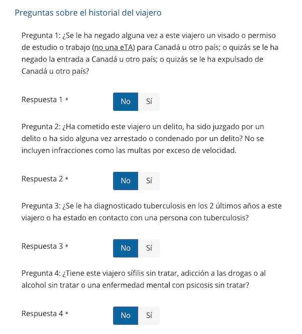 Preguntas sobre su historial en el formulario eTA Canadá