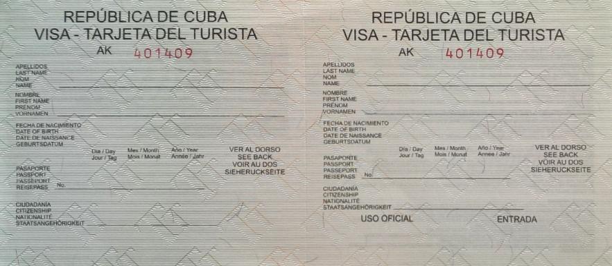 Ejemplo del visado Cuba