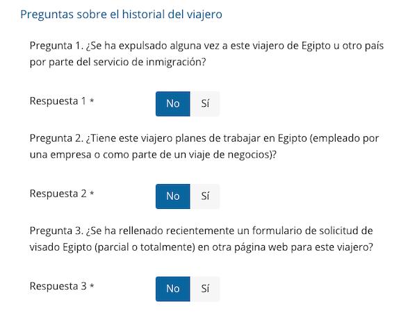 Rellenar preguntas sobre el historial para el visado Egipto
