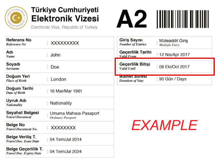 Comprobar la validez del visado Turquía